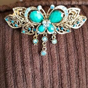 Vintage Jeweled Butterfly Barrette